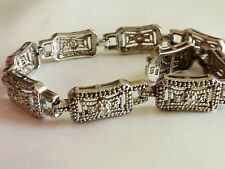 "Deco style Sterling Silver 925 Filigree Clear CZ Tennis Link Bracelet 7.25"" L"