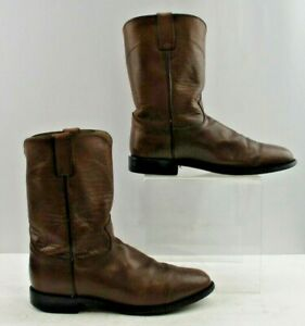 Men's Justin Brown Leather Round Toe Roper Cowboy Boots Size: 10 EE *Double Wide