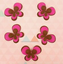 5 Pink Brown Fabric Butterfly Appliques Embellishments Scrapbooking Hair Clips