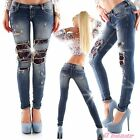 jeans skinny strappi meccanici ampi con pizzo e strass blu taglie XS,S,M,L,XL