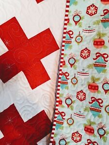 Baby Quilt-Christmas Baby Quilt-Vintage Ornaments Flannel Quilt-Baby Blanket