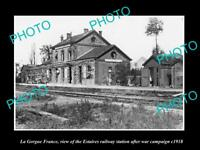 OLD LARGE HISTORIC MILITARY PHOTO LA GORGUE FRANCE ESTAIRES RAILWAY STATION 1918
