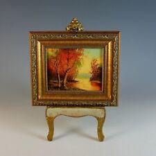 Miniature Autumn Landscape Oil Painting Signed I. Calpieri