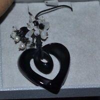 $505 Lalique Black Crystal Heart Coeur Ruban Onyx Moonstone Pearl Pendant w/ box
