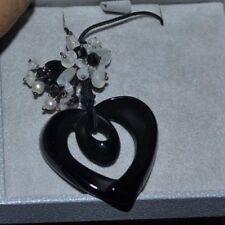 $505 Lalique Black Crystal Heart Coeur Ruban Onyx Moonstone Pearl Pendant 778800