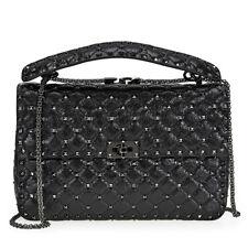 Valentino Rockstud Spike Leather Shoulder Bag - Black