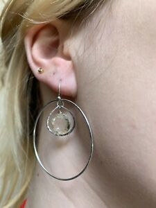 Vintage, Large, Solid Sterling Silver & Natural Yellow Citrine Drop Earrings.
