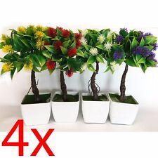 SET OF 4 ARTIFICIAL FLOWER POT 25CM DECORATION HOME PLANT OFFICE BONSAI TREE NEW