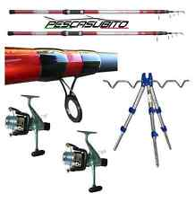 kit 2 canne wilder 4mt mulinelli sword 5000 filo tripode pesca mare surf casting
