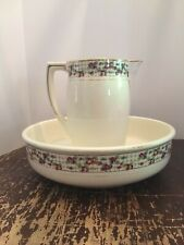Antique Boch LA Louviere Fabrication Belge Wash Bowl and Pitcher Made In Belgium
