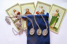 Set of Three Most Popular St. Medals: Jude, Christopher, Francis with Necklaces