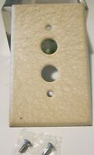 NOS Single Gang Pushbutton Switch Plate Wrinkle Ivory/Cream Paint On Steel