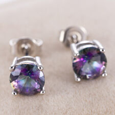 18K White Gold Filled - 6MM Round MYSTICAL Rainbow Topaz Luxury Gems Earrings~