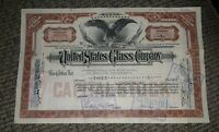 STOCK CERTIFICATE 3 Shares US UNITED STATES GLASS COMPANY CO Pennsylvania OLD!