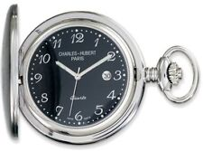 Charles Hubert Stainless Steel Black Dial Pocket Watch