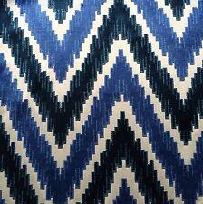 MANUEL CANOVAS Duras Indigo blue zig zag chevron velvet viscose cotton remnant