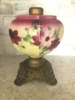 Antique Victorian Hexagon Hand Painted Oil Lamp /  Brass Metal Base