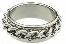 STAINLESS STEEL CURB BIKER CHAIN SPINNER RING  SIZE 7 HARLEY RIDER UNISEX
