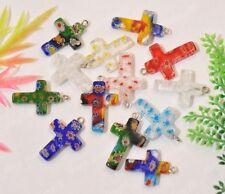 Free Shipping 10pcs Mix color Millefiori Glass  Cross Charm Pendant SH1027