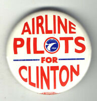 1992 pin AIRLINE PILOTS for CLINTON pinback AVIATION button