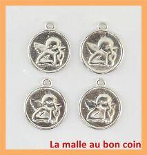 8 BRELOQUES MÉDAILLES ANGE EN MÉTAL ARGENTÉ  perles,fimo,bijoux neuf-bc079