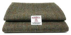 Harris Tweed Green Herringbone Fabric and Authenticity Labels Various Sizes