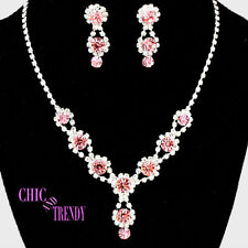 CLASSIC PINK, CLEAR CRYSTAL PROM WEDDING FORMAL NECKLACE JEWELRY SET CHIC TRENDY