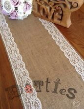 7ft Lovely Rustic Hessian And Lace Table Runner