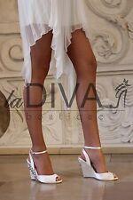 MENBUR Pumps Keil Sandalen mit Strass & Perlen 40 Ivory Satin Leder Brautschuhe
