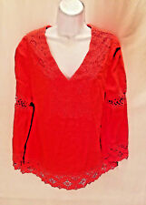 Cynthia Rowley Women's Blouse Top Red Lace V-Neck Long Sleeve Size M Medium