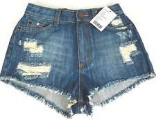 BDG Size 26 Denim Shorts Blue High Rise Cheeky Frayed Distressed New With Tags