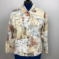 Chico's Women's Size 2, Large Linen and Cotton Blend Stamps Print Jacket