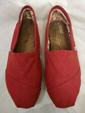 TOMS Womens Classic Red Canvas Slipper Shoes Size 7.5
