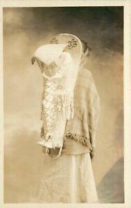 RPPC California Indian Woman, Baby in Beaded Cradleboard, Detrick Studio Ukiah