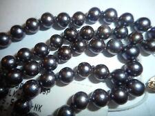 "14k Gold 6mm Peacock Black Akoya Salt Water Pearl 18"" Necklace choker mint fine"