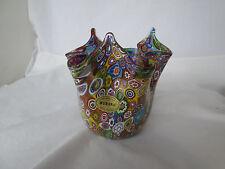 Murano Millefiori Campanella Fazzoletto Handerchief Vase Art Glass Italy Tag