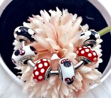 6 Pandora Silver Murano Disney Minnie Mickey Charm Beads