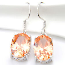Big Promotion 2 Pairs Fire Champagne Gemstone Silver Dangle Earrings