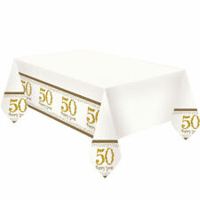 Golden Anniversary Plastic Tablecovers 50th Wedding Glittery Sparkling Amscan