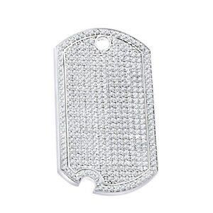 5.00 Ct Round Cut Simulated Diamond 14K White Gold Over Dog Tag Pendant  Jewelry