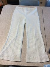 New listing Vintage 60s 70s Women's Polyester Pants Blue White Pattern Hippie Disco
