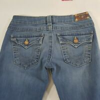 TRUE RELIGION Womens Distressed Blue Jeans Size 26 Pants Raw Hem Made in USA