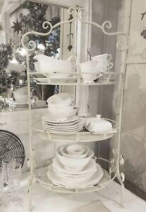 Etagere Regal Metall Weiß Shabby Vintage Küche Landhaus Nostalgie Deko