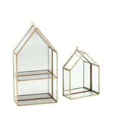 Wall Rack / Wall Shelf Brass and Glass geometric house shape design Small