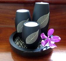 Candle Holder Tea Light Wood Black Handmade Rugby Leaf Tray
