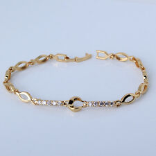 "24k yellow gold filled white topaz bracelet 7.5""5.9g SPECIAL OFFER lady Gift !"