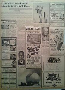 1953 Vintage Newspaper Marilyn Monroe Photo-Ellis Island-4th of July-Panama
