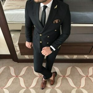 Men Slim Fit Suit Double Breasted Groom Tuxedo Wedding Suit Prom Party Business