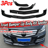 For Mercedes W204 C250 C300 08-14 Gloss Black Front Bumper Lip Splitter Spoiler