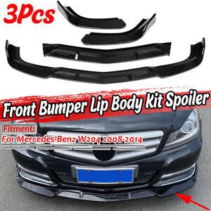 For Mercedes W204 C250 C300 08-14 Gloss Black Front Bumper Lip Splitter Spoiler